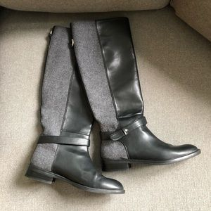 Zara black and wool-like boots 38